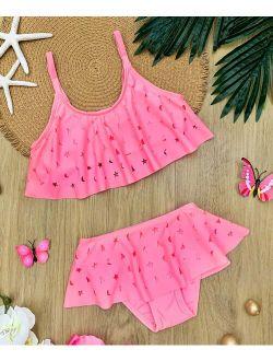 Mia Belle Girls Pink Star & Moon Laser-Cut Layer Ruffle Bikini - Girls