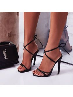11.5CM Fine High Heels Sandals Footwear Cross-tied Ankle Strap Summer Sandals Shoes Women 2020 Female Sexy Shoes Women Party