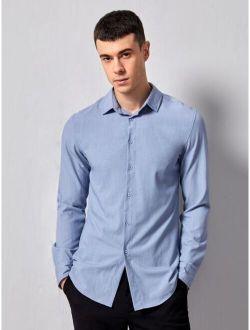 Basics Men Solid Curved Hem Shirt