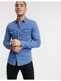 skinny fit western denim shirt in mid wash