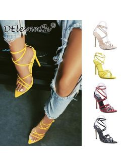Super high heels 11cm women's pumps ankle cross-strap sandals shoes woman lady pointy open toe stiletto high-heeled party shoe