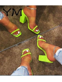 Women Transparent Pvc Sandals Ladies High Heel Slippers Candy Color Open Toes Thick Heel Fashion Female Slides Summer Shoes
