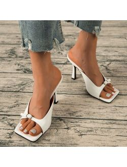 Women's Mules Modern Sandals Women Slippers 2021 Summer Shoes Female Slides High Heels Square Toe Shoe Designer Ladies Fashion