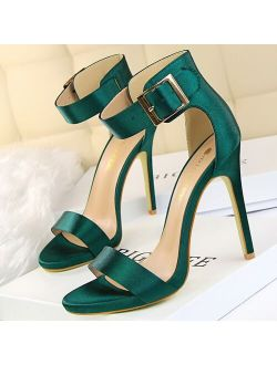 2021 Summer Concise Women 11.5cm Extreme High Heels Nightclub Sandals Green Silver Stiletto Heels Sandals Plus Size Prom Shoes