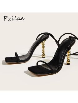 Pzilae 2021 New Summer Women Sandals Sexy Square Toe Lace Up Women Gladiator Sandals Metal High Heels Party Shoes Black Size 41