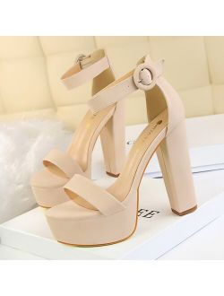 2020 Women Classic 13cm Block High Heels Fetish Suede Platform Sandals Female Chunky Summer Shoes Lady Nude Sexy khaki Red Pumps