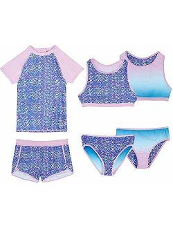 Girls 4 Piece Reversible Swimsuit Set