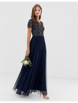 Maya Bridesmaid v-neck maxi tulle dress with tonal delicate sequins in navy