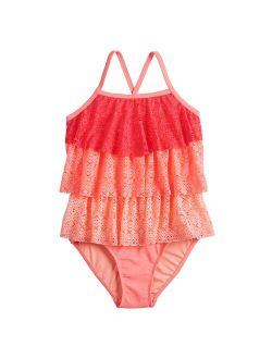 Girls 4-16 SO® Adaptive Crochet Crush Tankini Swimsuit