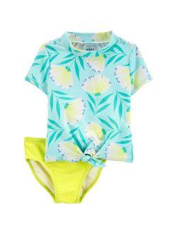 Baby Girl Carter's Floral Rashguard & Bottoms Swimsuit Set