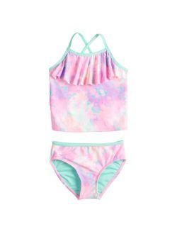 Toddler Girl Jumping Beans® Flounce Tankini Top & Swim Bottoms Set