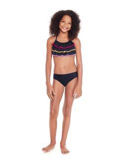 Glitter Beach Big Girls Bikini Set with Ruffles, 2 Piece