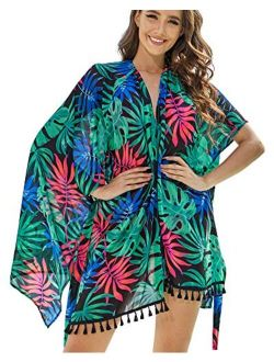 AS ROSE RICH Kimonos for Women - Summer Swim Cover Up - Plus Size Kimono Cardigan - Floral and Multi Color