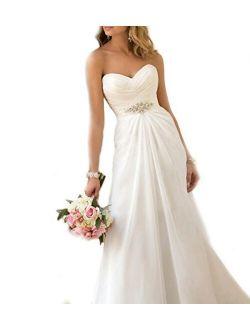 WeddingDazzle Women's Chiffon Beach Wedding Gowns Sweetheart Plus Size Wedding Dress