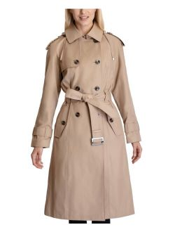 London Fog Double-Breasted Hooded Trench Coat