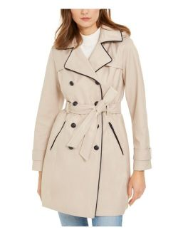 Hooded Faux-Leather-Trim Water-Resistant Double-Breasted Trench Coat