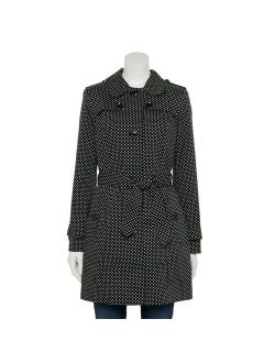 Women's TOWER by London Fog Polka-Dot Double Breasted Trench Coat
