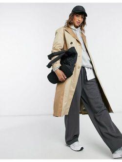 Vero Moda longline trench coat with pannels in beige