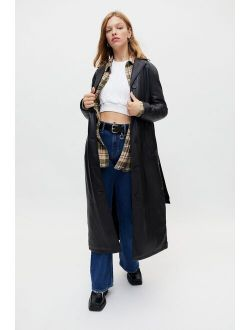 UO Luna Faux Leather Trench Coat