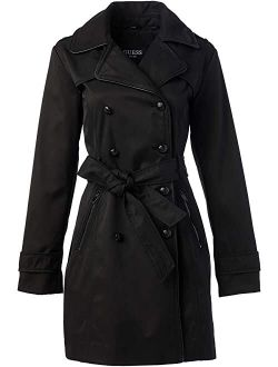 Double Breasted Trench Coat With Contrast Trim