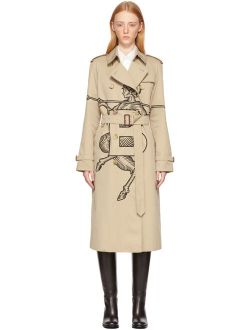 Burberry SSENSE Exclusive Beige Mythical Alphabet Embroidered Exploded Motif Trench Coat
