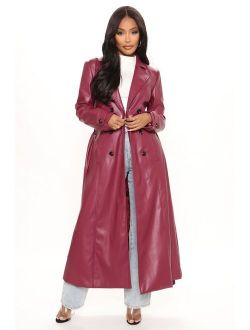 Get A Clue Faux Leather Trench Coat - Burgundy