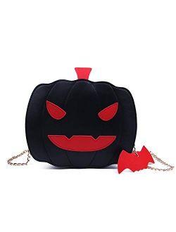 Kuang Women Pumpkin Shoulder Bag Novelty Devil Crossbody Purse Fashion Halloween Trick or Treat Purses and Handbags for Girls