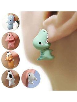 3D Cute Animal Bite Earring, Dinosaur Biting Ear Studs, 3D Cute Clay Earrings, Lovely Cartoon Shark Bite Piercing Earring, Handmade Polymer Animal Stud Earrings for Women