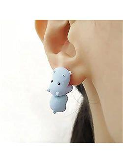 Cute Animal bite Earring, 3D Kawaii Dinosaur Bite Earrings, Fashion Simple Handmade Polymer Animal Stud Earrings for Girls Women (Shark)