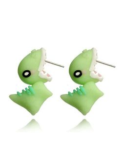 Animal Bite Earrings,cute animal earring,3D Animal Biting Ears Stud Earrings,Dinosaur Bite Earrings,Polyer Animal Earrings, Small and Exquisite,Fit Perfectly on Your Lobe