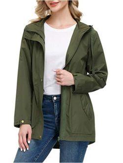 Women Lightweight Waterproof Hooded Rain Jacket Outdoor Windbreaker