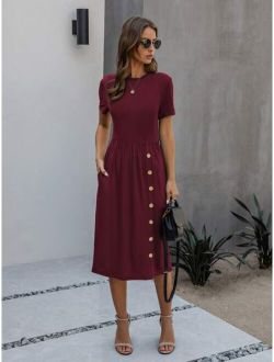 Slant Pocket Button Front A-line Dress