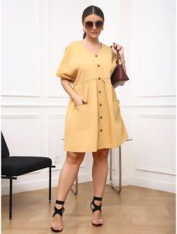 Plus Dolman Sleeve Dual Pocket Dress