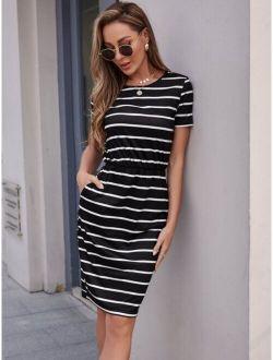 Striped Print Slant Pocket Fitted Dress