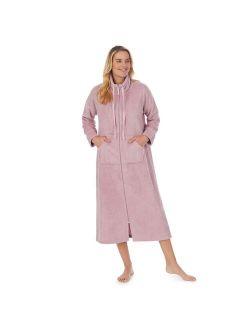 Women's Stan Herman Dimple Plush Cowlneck Zip Robe