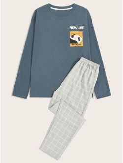 Men Cartoon Graphic Tee & Plaid Pants PJ Set