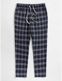 Men Slant Pocket Plaid Sleep Pants