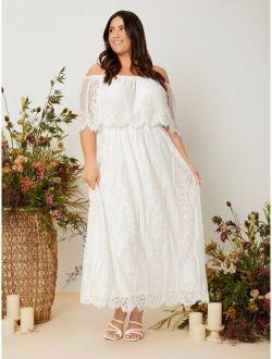 Plus Off Shoulder Eyelash Lace Wedding Dress