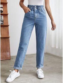 Paper Bag Waist Jeans For Women