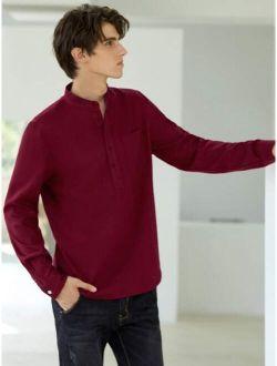 SHEIN Men Pocket Patched Half Button Shirt