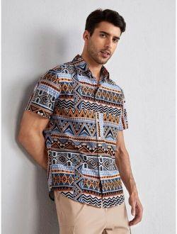 Men Geo Print Shirt