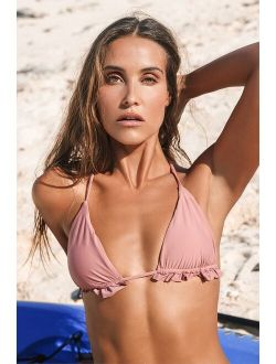Poolside Party Mauve Ruffled Bikini Top