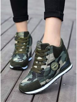 Letter Patch Camo Graphic Lace-up Front Wedge Sneakers