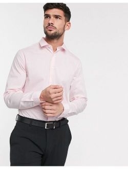 DESIGN stretch slim fit work shirt in pink