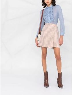 check-print midi skirt