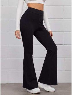 Flare Leg Solid Pants