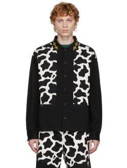 Brain Dead Black & White Cow Cabana Shirt