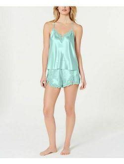 INC Satin Lace Trimmed Camisole & Shorts Pajama 2 piece Set Size XL aquamarine