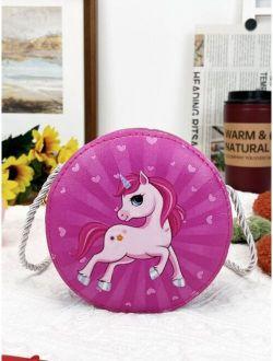 Girls Cartoon Unicorn Graphic Circle Bag