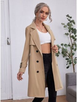 Double Breasted Buckle Belted Trench Coat
